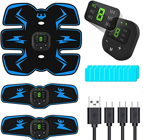 PewinGo Electroestimulador Muscular Abdominales, USB Recargable EMS Estimulador Muscular Abdominales, para Abdomen/Cintura/Pierna/Brazo