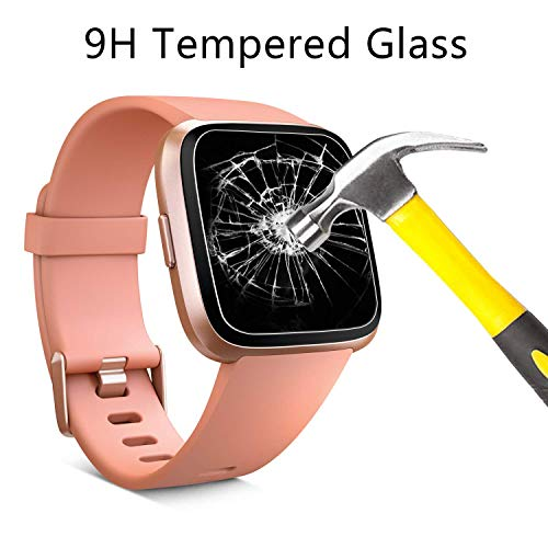 PEYOU Protector de Pantalla para Fitbit Versa, 4 Unidades Cristal Templado Protector de Pantalla con 9H Dureza, Anti-Rasguños, Ultra-Trasparente, Sin Burbujas para Fitbit Versa