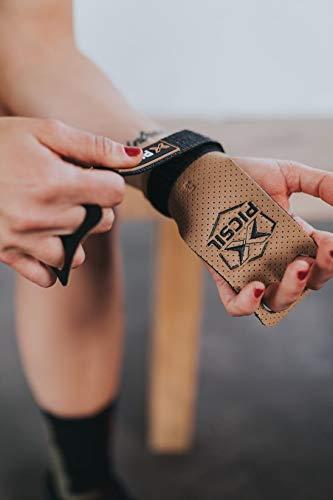 PICSIL Calleras Azor para Cross Training 2 Agujeros Agarre y Protector de Mano o Guantes para Gimnasia Unisex para Hombres y Mujeres en Deportes de Fitness Calistenia Halterofilia (Talla S, Marrón)