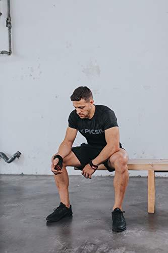 PicSil Calleras RX Carbon para Cross Training 2 Agujeros Agarre y Protector de Mano o Guantes para Gimnasia Unisex para Hombres y Mujeres en Deportes Calistenia Halterofilia (Talla XL, Rojo)