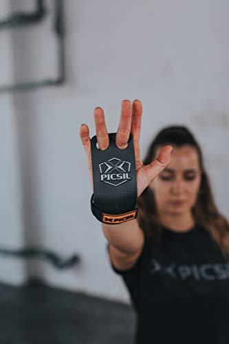 PicSil Calleras RX Carbon para Cross Training 2 Agujeros Agarre y Protector de Mano o Guantes para Gimnasia Unisex para Hombres y Mujeres en Deportes Calistenia Halterofilia (Talla L, Naranja)