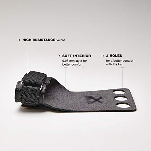 PICSIL Calleras RX Carbon para Cross Training 3 Agujeros Agarre y Protector de Mano o Guantes para Gimnasia Unisex para Hombres y Mujeres en Deportes de Fitness Calistenia Halterofilia (Talla M, Rojo)