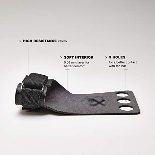 PICSIL Calleras RX Carbon para Cross Training 3 Agujeros Agarre y Protector de Mano o Guantes para Gimnasia Unisex para Hombres y Mujeres en Deportes de Fitness Calistenia Halterofilia (Talla L, Rojo)