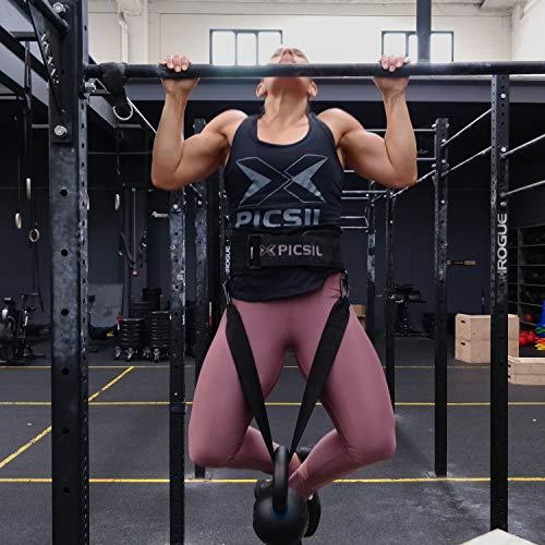 PicSil Cinturón para Pesas Musculación con Lastre, Dip Belt, para Cross Training, Fitness orientado a Profesionales Hombres y Mujeres del Fitness (Talla L- Large)