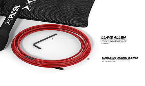 PICSIL Comba ABS Cuerda de Saltar Ligera 28grs de Plástico ABS PVC Pintura Resistente Cable Ajustable 25mm para Alta Velocidad orientada Profesionales Hombres y Mujeres Fitness y Cross Training (Roja)