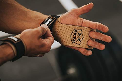 PICSIL Raven 2H Calleras para Cross Training Grips 2 Agujeros Agarre y Protector de Mano o Guantes para Gimnasia Unisex para Hombres y Mujeres en Deportes de Fitness Halterofilia (Talla S, Negro)