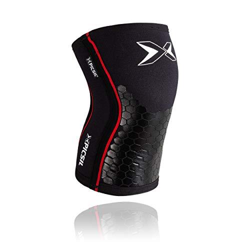 PicSil Rodilleras (1 PAR) - 5&7mm Knee Sleeves - Rodilleras para Halterofilia, Deporte Funcional, Levantamiento de Pesas, Running.Hombre y Mujer (5mm - Small, Black&Hexagon)