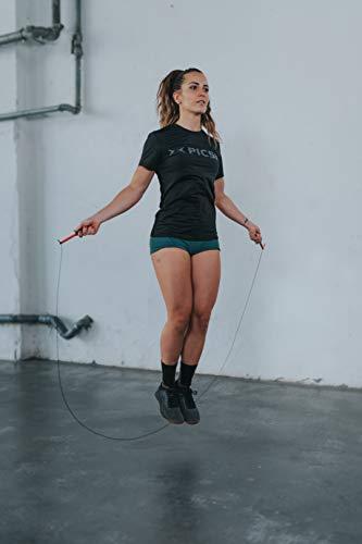 PicSil Sphinx Rope Cuerda de Saltar Ligera 28grs de Plástico Resistente y Duradero Cable Ajustable para Alta Velocidad orientada Profesionales Hombres y Mujeres del Fitness y Cross Training (Negra)