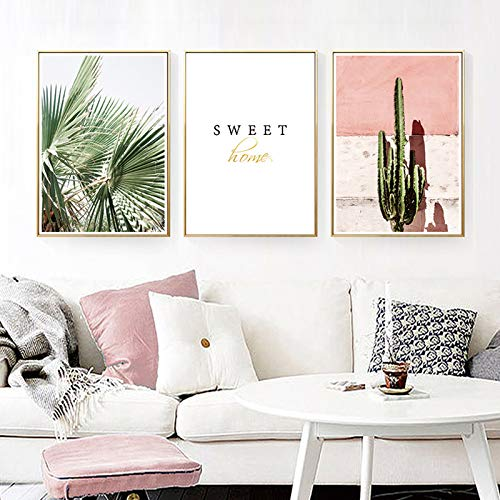 Pink Cactus Green Plant Flower Canvas Oil Painting Art Poster Picture Wall Nordic Decoración del hogar 60x90cm
