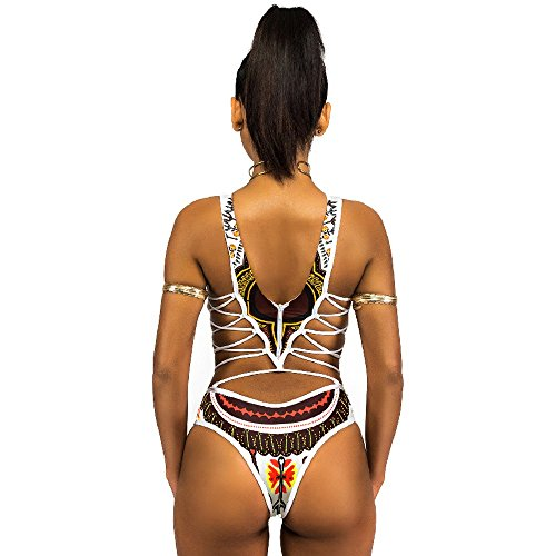 PinkLu Bikini De Traje De BañO De Una Pieza con Estampado éTnico Vintage SiaméS para Mujer Mujeres Vendaje Una Pieza Bikini Monokini Empuja hacia Arriba El Sujetador Acolchado