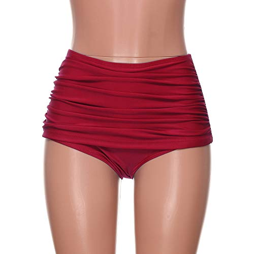 PinkLu Troncos De BañO De TriáNgulo Plisado SóLido para Mujer Braguitas De Talle Alto con Traje De BañO Bikini Tankini con Cintura Alta Y Tallas Grandes