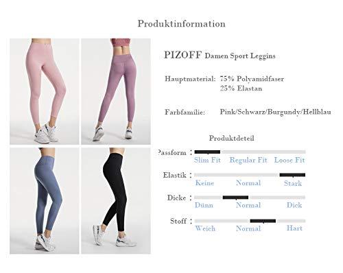 Pizoff Naked Sensation 7/8 - Mallas deportivas para mujer morado S
