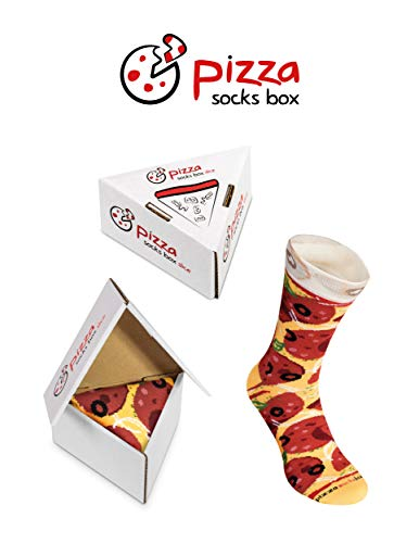 Pizza Socks Box Slice Pepperoni - Mujer Hombre - 1 par de Calcetines - Tamaño 41-46