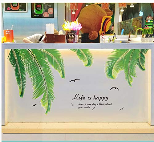 Planta Sala De Estar Fondo Pared Pegatina Alquiler Casa Decoración Muebles Pegatina 12 hojas de palma 138 * 66cm Descuento
