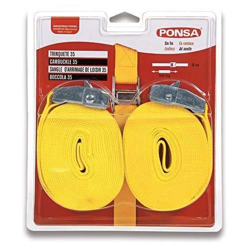 PONSA T35 -Cinta trincaje profesional -Trinquete - 2 unidades. Para amarrar cargas ligeras. Longitud 4m. Rotura real 1000 kg (en forma de aro). 027048035108