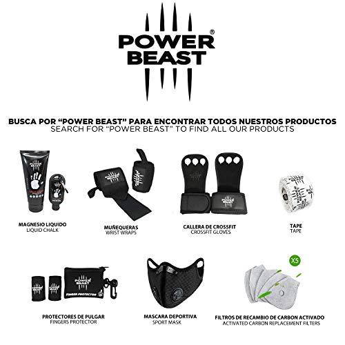 Power Beast Calleras Crossfit | 2 en 1 Guantes Sin Dedos y Muñequeras | Pesas, Gimnasio, Fitness, Calistenia, Musculación, Halterofilia, Dominadas | Protección Manos y Muñecas. Hombre y Mujer | 1 Par