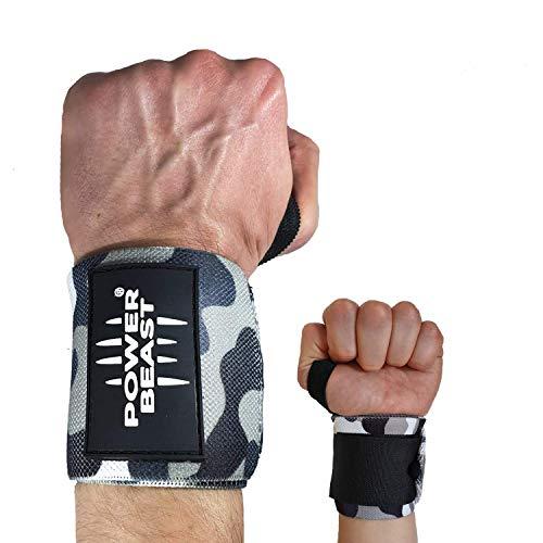 Power Beast Muñequeras Crossfit   Wrist Wraps Elásticas para Pesas, Gym, Fitness, Calistenia, Musculación, Halterofilia   Muñequera Deporte para Hombre y Mujer   1 Par, Talla única, Longitud: 56 cm