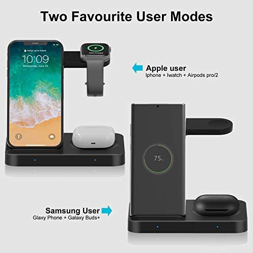 POWERGIANT Cargador Inalámbrico Rápido - Estación de Carga 15W Rápida QI 3 en 1 Soportes de Carga de para Apple Watch Airpords Pro/2 Galaxy Buds iPhone 11 8 X Pro Max Samsung Galaxy S10 S9 S8 S7