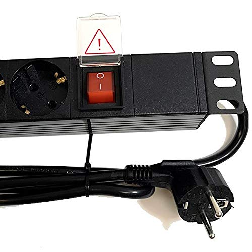 Powergreen RAC-00008-PDU PDU Tipo Regleta de 8 Tomas con Interruptor y Cable de 2 M