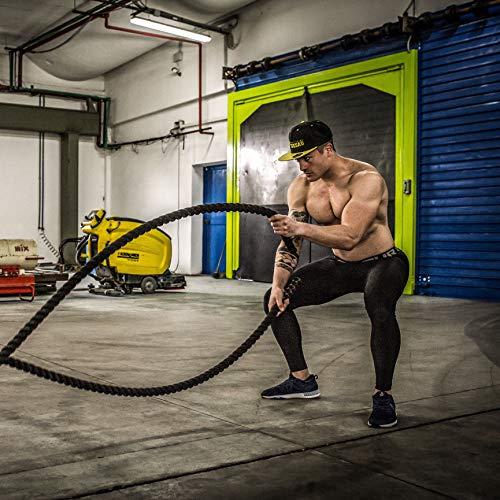 POWRX Battle Rope 9M x 38mm - Cuerda de Batalla Ideal para »Entrenamiento Funcional« - Agarre Antideslizante + PDF Workout (Revestimiento Negro)