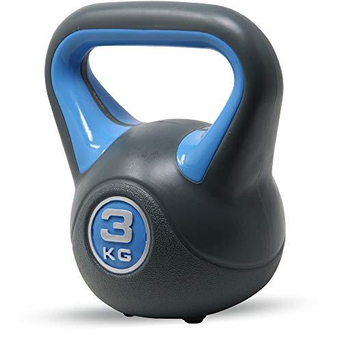 POWRX - Kettlebell de hormigón 2-20 kg - Pesa Rusa con Revestimiento de Vinilo - Base con Goma Antideslizante + PDF Workout (3 kg/Azul)