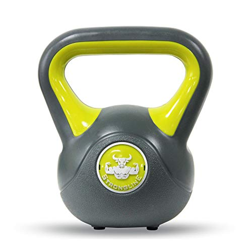 POWRX - Kettlebell de hormigón 2-20 kg - Pesa Rusa con Revestimiento de Vinilo - Base con Goma Antideslizante + PDF Workout (4 kg/Amarillo)