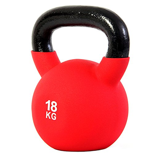 POWRX - Kettlebell Hierro Fundido 4-30 kg - Pesa Rusa con Revestimiento de Neopreno + PDF Workout (18 kg)