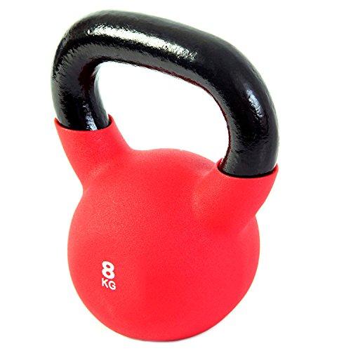 POWRX - Kettlebell Hierro Fundido 4-30 kg - Pesa Rusa con Revestimiento de Neopreno + PDF Workout (8 kg)