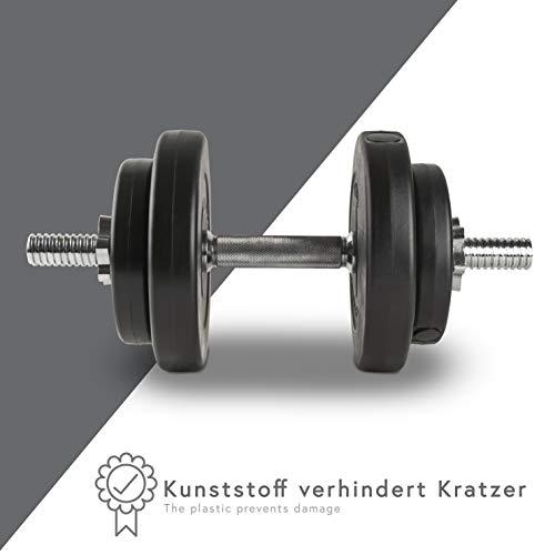 POWRX - Mancuernas 20 kg Set (2 x 10 kg) + PDF Workout (Negro)