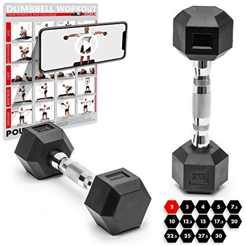 POWRX - Mancuernas hexagonales 20 kg Set (2 x 10 kg) - Revestimiento de Goma + PDF Workout (Negro)