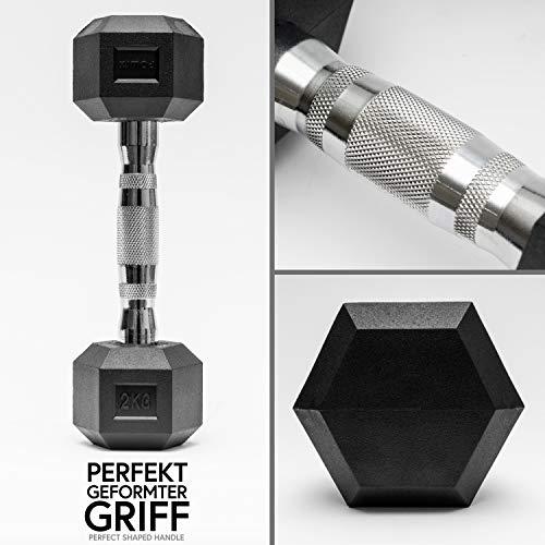 POWRX - Mancuernas hexagonales 30 kg Set (2 x 15 kg) - Revestimiento de Goma + PDF Workout (Negro)
