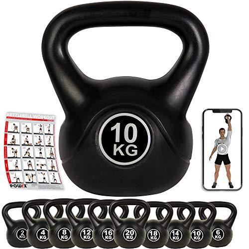 POWRX Pesa Rusa de hormigón 4-12 kg - Kettlebell con Revestimiento de Vinilo y Agarre Antideslizante + PDF Workout (10 kg/Negro)