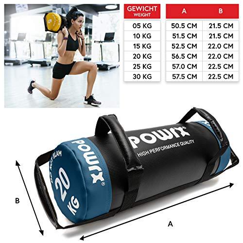POWRX Sandbag 20 kg - Perfecta para mejorar equilibrio, fuerza y coordinación - Power bag con cuatro agarres + PDF workout (Azul)