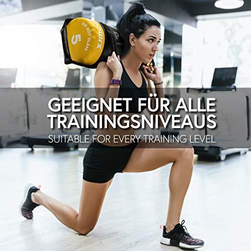 POWRX Sandbag de 5 a 30 kg - Perfecta para mejorar equilibrio, fuerza y coordinación - Power bag con cuatro agarres + PDF workout (5 kg / Amarillo)