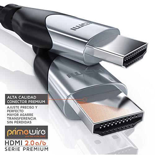 Primewire 3m Cable de HDMI - 4K 60Hz 4096 x 2160p HDR UHD 4x4x4 18Gbps - Alta Velocidad con Ethernet - 4K Ultra HD 2160p 3D ARC y CEC - Cable de blindaje Triple - Trenzado de Nylon - Black Line