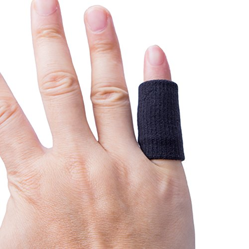 Protector de Dedos,Diealles Dedo Manga Protector Elástico Vendas Bandas Finger Guard para Baloncesto Voleibol Bádminton - 10PCS (Negro)