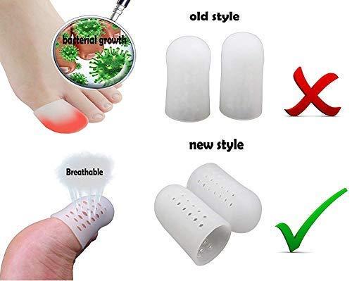 Protector uña dedo gordo pie, 10 piezas Tapones para Dedos en Gel, Mangas transpirables, evita callos y ampollas, silicona para hombres y mujeres.