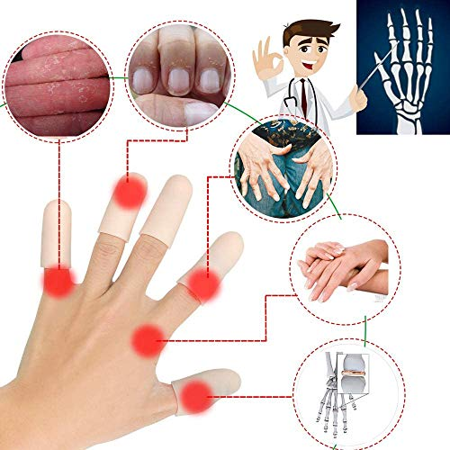 Protectores de dedos de gel, Protector dedos mano, Protector para dedos, Nuevo Material, Mangas de dedo, Ideal para gatillo de dedo, Agrietamiento de dedos, Artritis de dedos y más.(Piel, 14 piezas M)