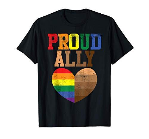 Proud Ally Rainbow Black Pride Heart Love Equality LGBT Gift Camiseta