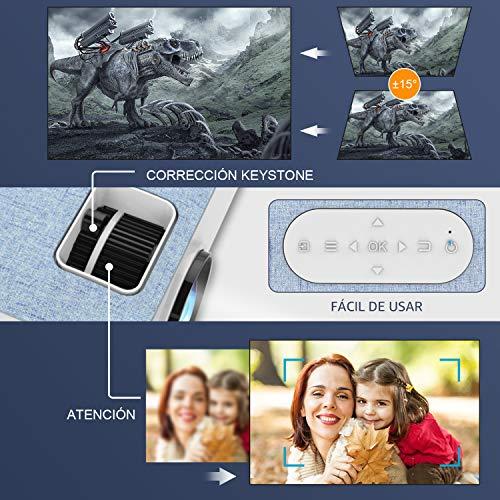 Proyector, Mini Proyector Portátil FANGOR Video proyector Cine en casa 4500 lúmene Soporte 1080P Bluetooth proyector, Compatible con TV Stick, PS4, HDMI (Actualización 2020)