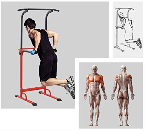 Pull up Fitness - Barra de tracción Ajustable para musculación multifunción, Color Rojo/Negro, tamaño Talla única, 107 x 38 x 9centimeters
