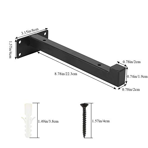 Pulluo 2Pcs Soporte para Estanterías de Metal 20cm Industrial Escuadra Balda Soporte de Pared Multiuso Escuadra Estantería Invisible, Negro