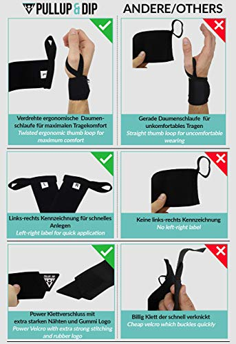 PULLUP & DIP Muñequeras Deportivas, Wrist Wraps para Fitness, Levantamiento, Calistenia, Crossfit, Powerlifting y Musculación, Estabilizadoras y Protectoras, Mujeres y Hombres (Pullup & Dip Branding)