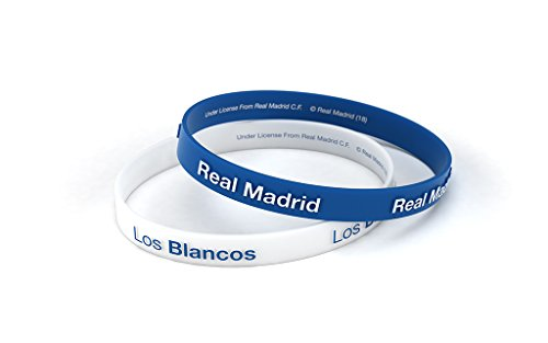 Pulsera Real Madrid Club de Fútbol Relieve Azul y Blanca Estándar para Hombre, Pulsera de Silicona, Producto Oficial