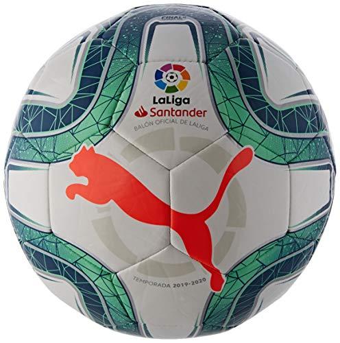 Puma LaLiga 1 Ms Trainer Balón de Fútbol, Unisex Adulto, Gris White-Green Glimmer-Nrgy Red, 5