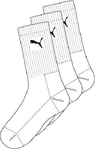 Puma Sports Socks - Calcetines de deporte para hombre, color blanco, talla 47-49, 3 unidades