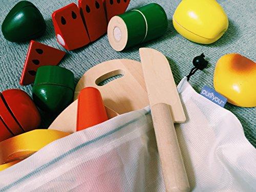 Purifyou - Bolsas de malla reutilizables con costuras dobles, resistentes, con etiquetas que indican el peso y en varios tamaños y diferentes cantidades