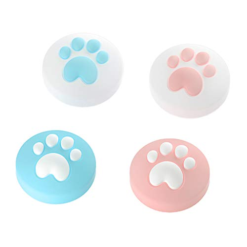 Qianber Cat Claw Design Thumb Grip Caps, Joystick Cap for Ninte-ndo Switch & Lite, Soft Silicone Cover for Joy-Con Controller (Pink&Blue)