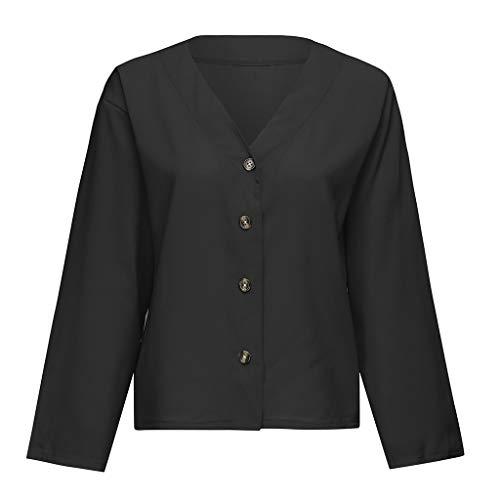 Qingsiy Camisas Mujer Blusa Suelta De Mujer Manga Larga Camiseta Color Sólido De Tops Casuales Camisa del V-Cuello Top De La Moda Mujer De Camiseta Tops Mujer Verano (Negro,XXL)