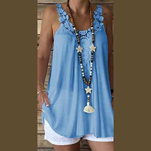 Qingsiy Tops Mujer Fiesta Camisetas Camisola Sin Manga Casual Moda Mujer Camisetas Mujer Verano Blusa Mujer Sport Tops Mujer Verano Camisetas Mujer Fiesta Elegante Camisetas (Azul,XXXL)